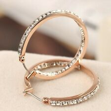Michael Kors Rose Gold Tone Crystal Circle Earrings with Original Pouch