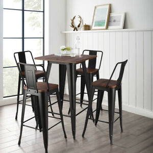 2/4Seaters Metal Industrial Bar Stools Table Breakfast Kitchen Stool Cafe Bistro