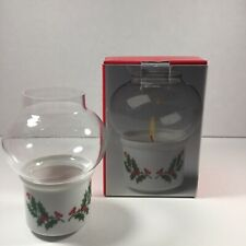 Vintage 1980's Christmas Candlelight Hurricane Lamp Nos Made in Japan