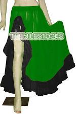 White/Black - TMS Designer Slit Flamenco Skirt Belly Dance Gypsy - 25 Color