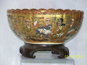 Antique Japanese Meiji Period Satsuma Scalloped Rim Signed Porcelain Bowl w/Box