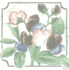 "Sweet Peas Cross Stitch Kit - Heritage Stitchcraft 6.5"" x 6.5"" 27 Count"