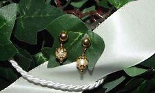 Ohrstecker länglich Hochzeit beweglic Perle drehbar Gold plattiert vergoldet S23