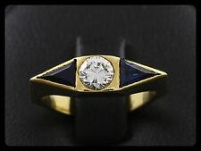 Brillant Saphir Ring Ringweite 50 Französiche Goldschmiedearbeit 750/- Gelbgold