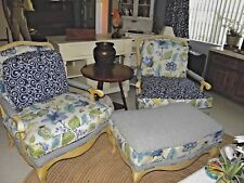 2 French Country Duchesse Bergere Accent Chairs One Ottoman Newly Upholstered