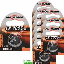 10 x Ansmann CR2025 3V Lithium Coin Cell Battery 2025, DL2025, BR2025, SB-T14