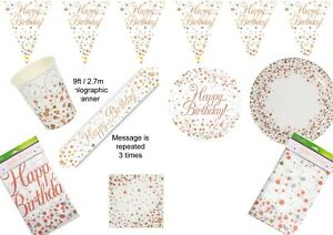 Rose Gold Birthday Party Supplies Tableware, Decorations Napkins Cups & Balloons