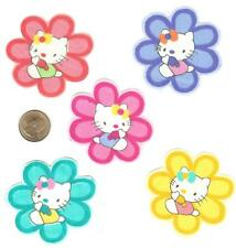 HELLO KITTY FLOWER FABRIC APPLIQUES - 5 PCS.