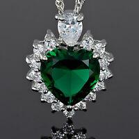 Damen 18K Weissgold Vergoldet Herz Gruen Smaragd Trauung Anhaenger Halskette