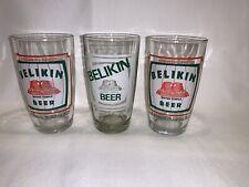 3 Vintage BELIKIN BREWERY Mayan Temple Belize Beer Glasses
