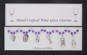 Cheese and Wine Set of 6 Wine Glass Charms Handmade Just for You