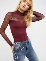 New Free People Womens Seamless Long Sleeve Seamless Fishnet Turtleneck Top $58