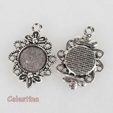 10 Filigree Silver Cameo Cabochon Settings - Victoriana Flower Pendant Bezel
