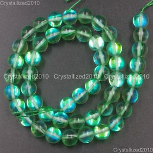 """Top Crystal Glass Round Glitter Inside AB Coating Beads 6mm 8mm 10mm 12mm 15.5"""""""
