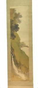 RARE Vintage JAPANESE Landscape Hand Painted Watercolor Silk Scroll Painting C