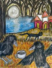 Crow Drinking Coffee Black Cat Haunted House Forest Art Print 5x7 Artist KSams