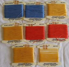 Lot of 8 Skeins Plastic Coated Colored Waterproof Twine Thread West Germany