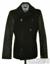 RALPH LAUREN DENIM & SUPPLY Black Wool Mens Peacoat Jacket Coat - SMALL
