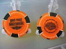 2 Harley Davidson Poker Chips Space Coast Palm Bay Cocoa Beach Florida / Orange