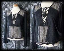 Gothic Black Sheer Lace Up ATROCITY Drape Sleeve Blouse 6 8 Victorian Vintage