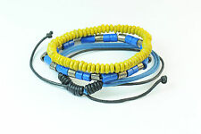HANDMADE BEADED AND METALLIC INFINITY WRIST BANDS SOOTHING HUES OF BLUE (CL11)
