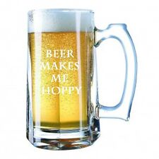 Beer Alcohol Glass Mug Stein 28 Ounces  Beer MAKES ME HOPPY FUNNY SAYING GIFT