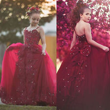 Red Tulle Party Princess Wedding Birthday Beaded Ball gown Flower Girl Dress