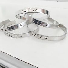 Personalised Handstamped Cuff Bangle For Her, Girls Birthday Keepsake Gift
