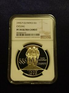1995 P Olympics Atlanta Cycling $1 Silver Coin NGC PF 70 UCAM [low pop - 45]