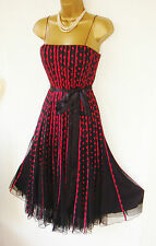 PHASE EIGHT RED BLACK COCKTAIL DRESS FULL SKIRT SIZE 8