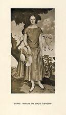 Portrait german art print 1926 Wassili Schuchajew lady sun hut dress summer xc
