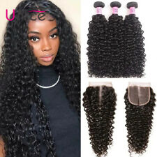 UNice Hair Peruvian Curly 100% Human Hair Extensions 3 Bundles With Lace Closure