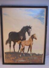 "Vintage Framed Print by Equestrian Artist Sam Savitt, Mare and Foal 16.5""x12.5"""