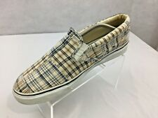 Sperry Top Sider Largo Boat Shoes Sz 12 Slip On Loafers Plaid Patch White
