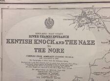 ADMIRALTY SEA CHART. No.1975. KENTISH KNOCK and The NAZE. ENGLAND E. COAST. 1934