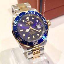 Invicta Pro Diver Mens Ronda Swiss Quartz Watch 40mm Gold Blue Submariner Homage