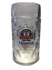 """Erdinger - Bavarian / German Beer Glass 1.0 Liter Stein - """"Masskrug"""" - NEW"""