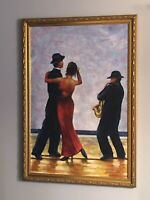 "Vtg Oil Painting M Howard Framed Signed Wall Art ""The Singing Butler"" Saxophone"