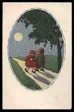 CART.D'EPOCA-illustratore C.GIRIS-BAMBINI,LUNA,NOTTE 2