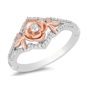 1/8CT White Round Diamond Rose Plated Flower Engagement Wedding Ring 925 Silver