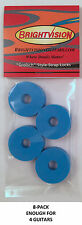 Eight BLUE Rubber Guitar Strap Locks - Grolsch Style - Classic and Reliable