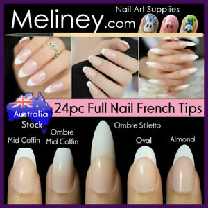 24pc Long Full Cover French Tips Press On Nails Gradient Fade Ombre Fake Wedding