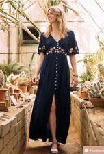 Francescas Navy Blue Maxi Dress Embroidered Flowers Boho Hippie Festival Size M