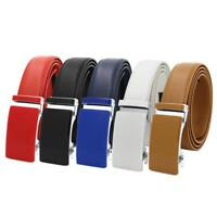 Fashion Men's Genuine Leather Exact Fit Automatic Buckle Ratchet Golf Dress Belt