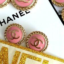 5 Knöpfe Ø 16 mm SET gestempelt Knopf Button Bouton Coco Chanel CC Logo rosa