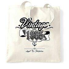 Birthday Tote Bag Vintage Est. 1985 Aged To Perfection Distressed 33 Years