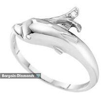 diamond dolphin.03-carat 10K white gold ring love promise freedom ocean