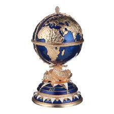Russian Faberge Egg / Trinket Jewel Box The Globe with Ship 5.5'' (14 cm) blue