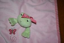 """Kelly B Rightsell Frog Lovey """"Sweet One"""" Security Blanket Plush Pink Baby Lovey"""