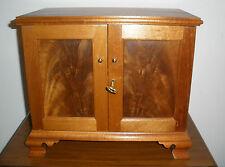 Mahogany Hand Made Jewelry Box Cabinet 3 Drawers Lock & Key Hinged Inlaid Doors